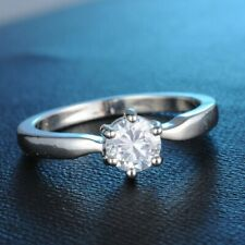 Fashion Ring, Size 6.5 Silver Engagement Cz Solitaire