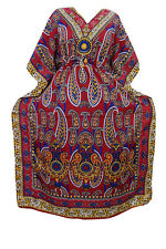 LADIES MAXI CAFTAN RED PAISLEY BOHO HIPPIE V NECKLINE KIMONO HOUSE DRESS XXL