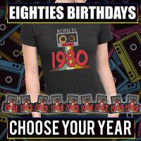 Born in 1980 - 1989 Ladies Eighties Retro Cassette Birthday Gift T-Shirt