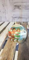Vintage Hallmark Christmas Children Skating 1981 Mark Alvin Satin Ball Ornament