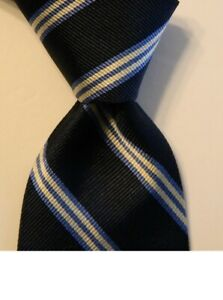 BROOKS BROTHERS Makers Boy's Youth 100% Silk Necktie USA STRIPED Blue/White EUC