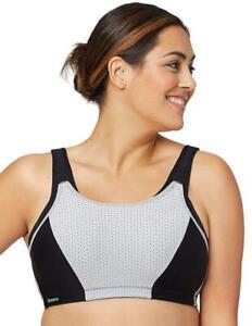 Glamorise 1166 Sports Bra Custom Control Full Figure Plus Size Black RRP £45
