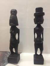 Dark Wood Hand Carved Africa Man And Woman Pair Statue Rare Vtg