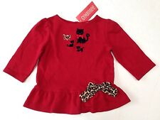 NWT Gymboree Glamour Kitty 6-12 Red Kitten Leopard Bow Ruffle Hem Top