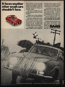 1968 SAAB Red Coupe - Faces Weather Other Small Cars Wont Face - VINTAGE AD