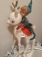 Vtg Lg Reindeer Plastic w Elf Pixie riding Christmas KITSCH Mid Century Decor
