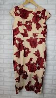 Romance by Honey and Beau Sz 14 Alexa cap sleeve dress Nude red floral BNWT