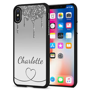 PERSONALISED NAME Glitter HEART Phone Hard Case Cover For iPhone 12 164-2 Black