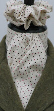 Ready Tied Cream Pink & Brown Pin Dot Cotton Dressage Riding Stock & Scrunchie