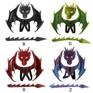 3Pcs Halloween 3D Dragon Mask Wing Mardi Gras Dragon Costume Cosplay Party Kids