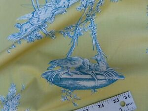 BY YD Brunschwig & Fils MATIN D'ETE French Toile Lime Aqua Blue COTTON MSRP$250