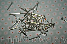 20 Pairs (40) Bright Silver Tone Earring Stud Post MED 6mm Glue Pad Rubber Backs