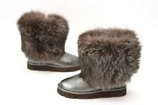 NWOB$2845 Brunello Cucinelli 100%Fur+Leather Ankle Boots W/Monili Bead 37/7 A181