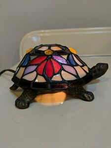 Tiffany Style Stained Glass Turtle Shell Accent Lamp Night Light Two Brightness