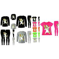 Dabbing Unicorn Leggings T-Shirts Trousers Pants Top Kids Party Girls 2-13 Years