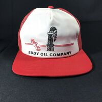 VTG EDDY OIL COMPANY EOC RED WHITE COLORWAY MESH TRUCKER USA SNAPBACK HAT CAP