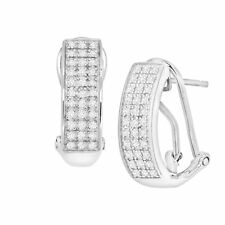 1/4 ct Diamond French Clip Earrings in Sterling Silver
