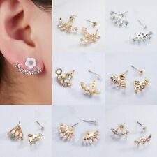 Fashion LOVE Star Crystal Pearl Womens Stud Rear-mounted Earring Jewelry Gifts