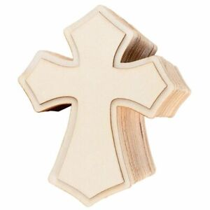 24-Pack Unfinished Wood Cross Cutouts Shapes for DIY Craft, Religious Decoration