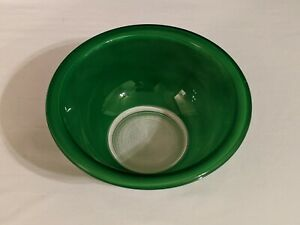 Vintage Pyrex Mixing Serving Bowl Green Clear Bottom #322 1 Liter