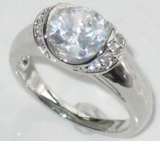 White Gold Plated Solitaire with Accents Oval Costume Rings