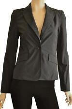 CUE SZ 8 WOMENS Dark Grey Textured Fabric One Button Tailored Blazer Suit Jacket