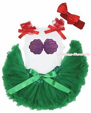 Baby Girl Mermaid Princess Sea Shell White Top Kelly Green Pettiskirt Set 3-12M