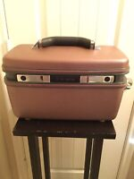 Vintage Samsonite Silhouette 4 Brown Train Case Hard Luggage w Mirror Tray Pouch