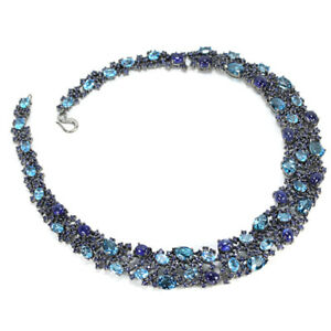 98.90 CT. GENUINE BLUE SAPPHIRE & TOPAZ STERLING 925 SILVER NECKLACE 15 INCH.