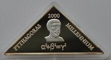 Uganda 2000 Shillings, 2000, Millennium, Pythagoras. Triangular Silver coin.