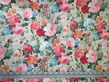 Floral silky satin fabric rose pattern chintz style by the metre