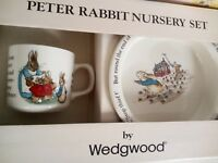 Vintage Wedgwood Peter Rabbit Nursery 2 Piece Set - Mug, Plate w/Original Box
