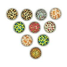 10 Mixte Mini Bouton Pression Motif léopard Pour Bracelet Personnalisé 12x8mm