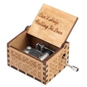 Can't Help Falling in Love--Wooden Engraved Music Box Gift Hand Cranked C UK