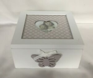 Dainty Daisy Butterfly Wooden Heart Photo Box Trinkets Memories White & Grey