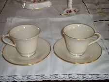 """LENOX,""""HAYWORTH"""" SET OF TWO~ CUPS/SAUCERS, FIRST QUALITY, LOVELY,TRIMMED IN GOLD"""