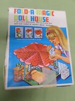 VINTAGE 1960'S FOLD-A-MAGIC DOLL HOUSE WITH PLASTIC FURNITURE AND ORIGINAL BOX