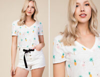NWT White Flamingo Palm Graphic Print Cropped T-Shirt Summer Top Short Sleeve