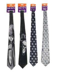 Halloween Scary Novelty Tie Skull Spider Boy with Dagger Dress Up Ties Party