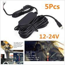 5Pcs 12V To 5V Hard Wire Cable 3.5 M Mini USB Micro USB For Car Dash Camera GPS