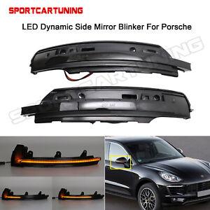 Sequential LED Turn Signal Side Mirror Light Blinker For 2014-2020 Porsche Macan
