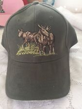 Hunting Moose Bull Cow BASEBALL HAT (Green & Embroidered ) #42