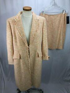 Kasper Women's Orange Cotton Blend Skirt Suit 16