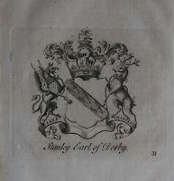 1756 Antiguo Estampado Familia Crest Abrigo De Brazos STANLEY Conde De de Derby