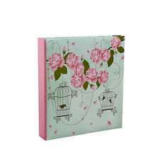 VINTAGE ROSE LARGE 200 POCKET SLIP IN MEMO PHOTO ALBUM HOLDS 7 X 5 PHOTOS - BL57