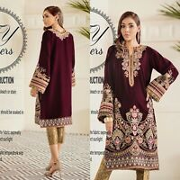 Pakistani Maria B Baroque Designer Velvet Suit Wedding Dress Shalwar Kameez EMB