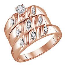 0.13 Cttw Round Natural Diamond Wedding Trio Band Ring Set 14K Rose Gold Over