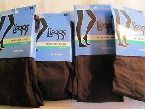 4 pair Leggs Microfiber Tights Opaque Soft & Silky Brown Size B   #032277