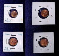 MONEDAS DEL MUNDO Islandia 1981/86 10 y 50 Aurar