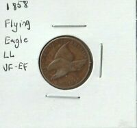 1858 FLYING EAGLE CENT - Large Letters LL - VF-EF